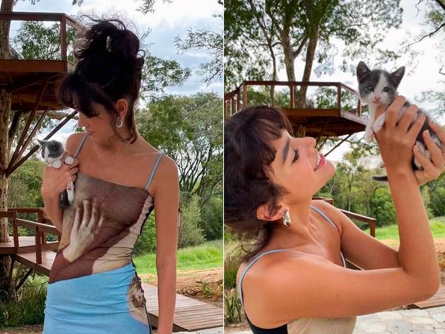 """Bruna Marquezine e Enzo Celulari adotam gata: """"Nossa filha"""""""