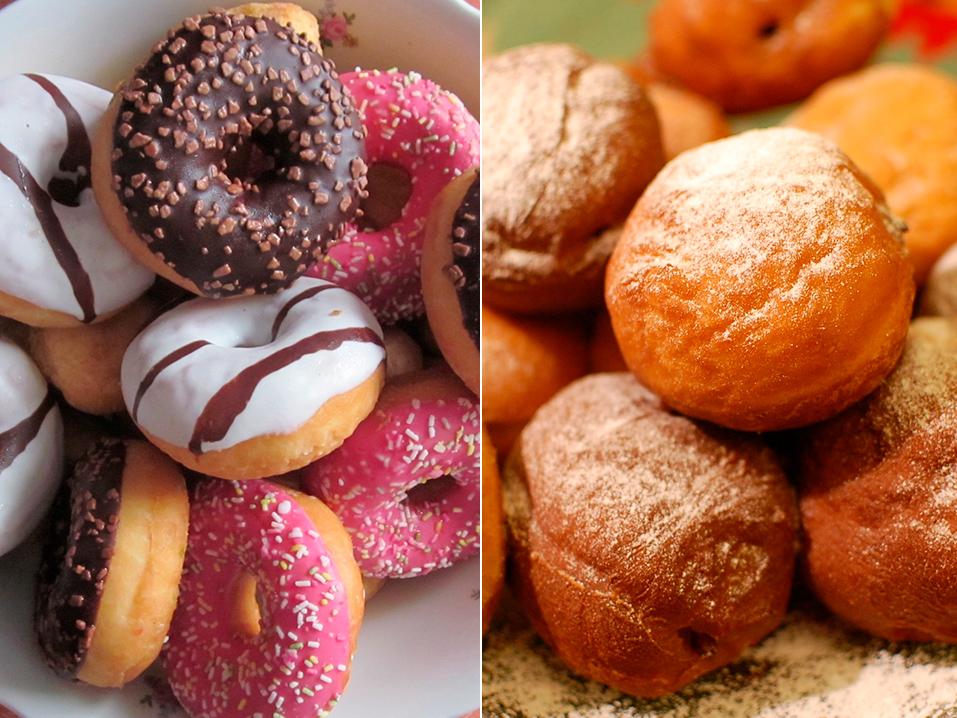 Donuts e sonhos tem a mesma origem, apesar do formato diferente
