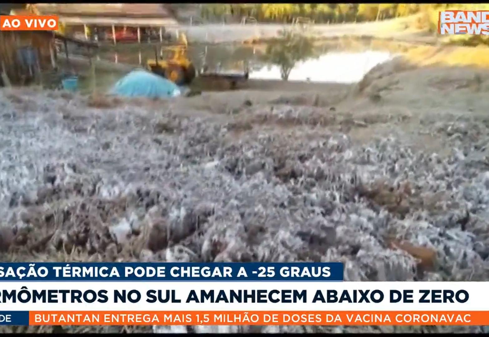 Onda de frio no Brasil: Sensação térmica chega a -20ºC na serra catarinense