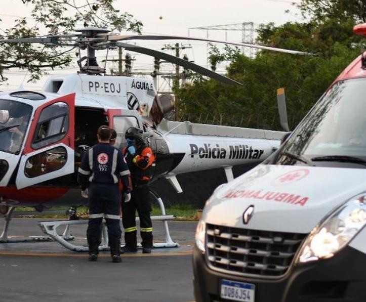 Criança cai em lança de portão em Redenção da Serra e é socorrida pelo Helicóptero Águia
