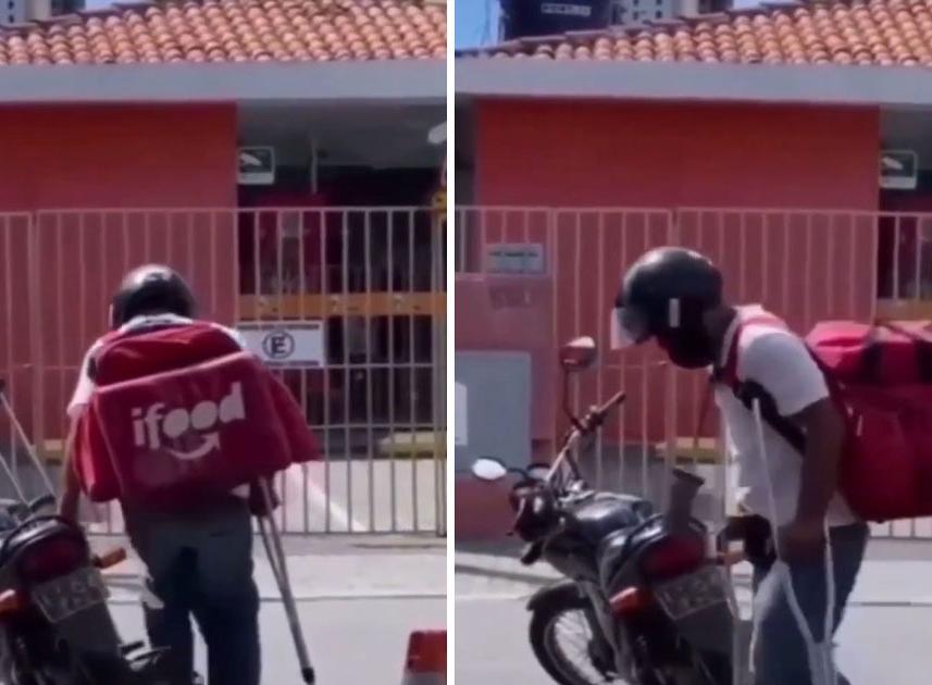 Motoboy sofre acidente e continua fazendo entregas mesmo de muletas