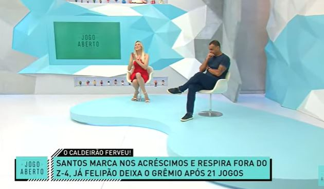 """Denílson lista ingredientes de possível queda do Grêmio, e Renata Fan tira onda: """"hoje é meu dia"""""""