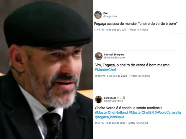 """Fogaça faz comentário sobre """"cheiro verde"""" e Paola pira; veja reações do Twitter"""