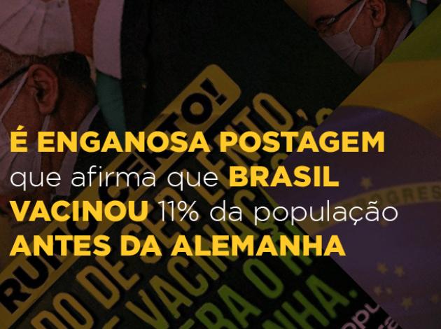 É enganosa postagem que afirma que Brasil vacinou 11% da população antes da Alemanha