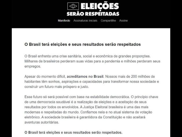 Lideranças políticas e empresários divulgam manifesto a favor do sistema eleitoral brasileiro
