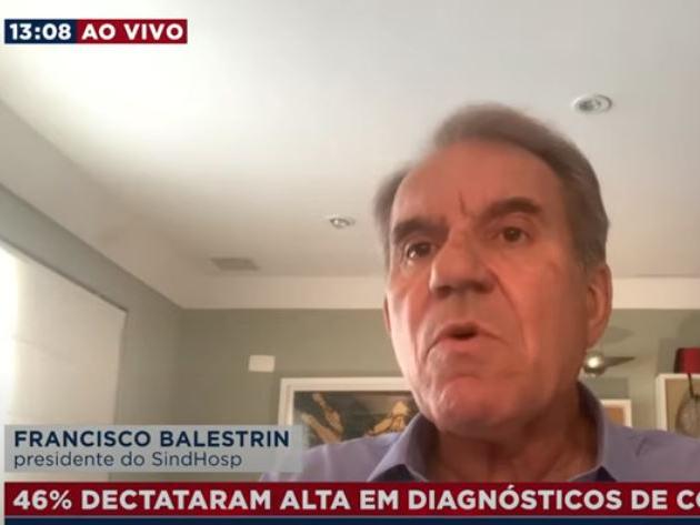 Francisco Balestrin, do SindHosp, deu entrevista ao BandNews TV