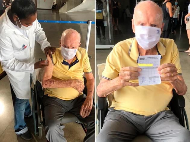Zagallo recebe dose de reforço da vacina contra a Covid-19