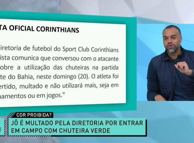 Chuteira verde? Denílson diz que Corinthians foi infeliz em expor Jô