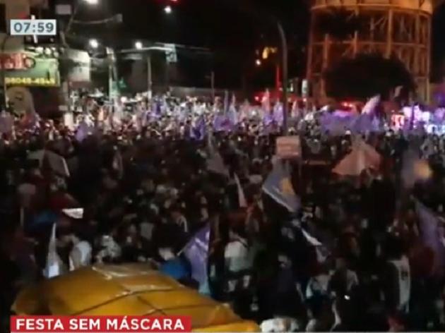 Vitória de Edmilson Rodrigues em Belém causa aglomeração e festa sem máscara