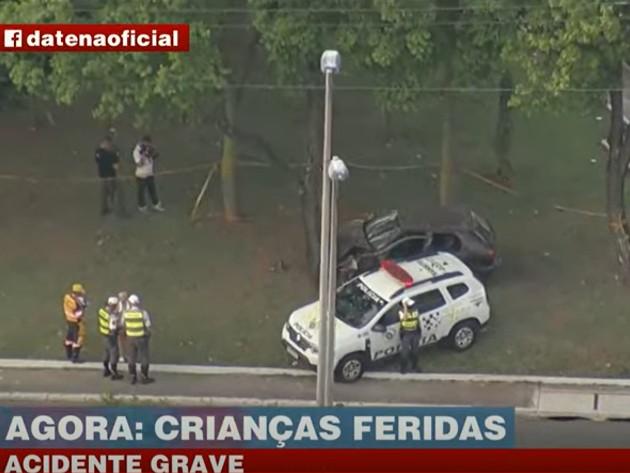 SP: Acidente próximo à Ponte da Casa Verde deixo um adulto e duas crianças feridas