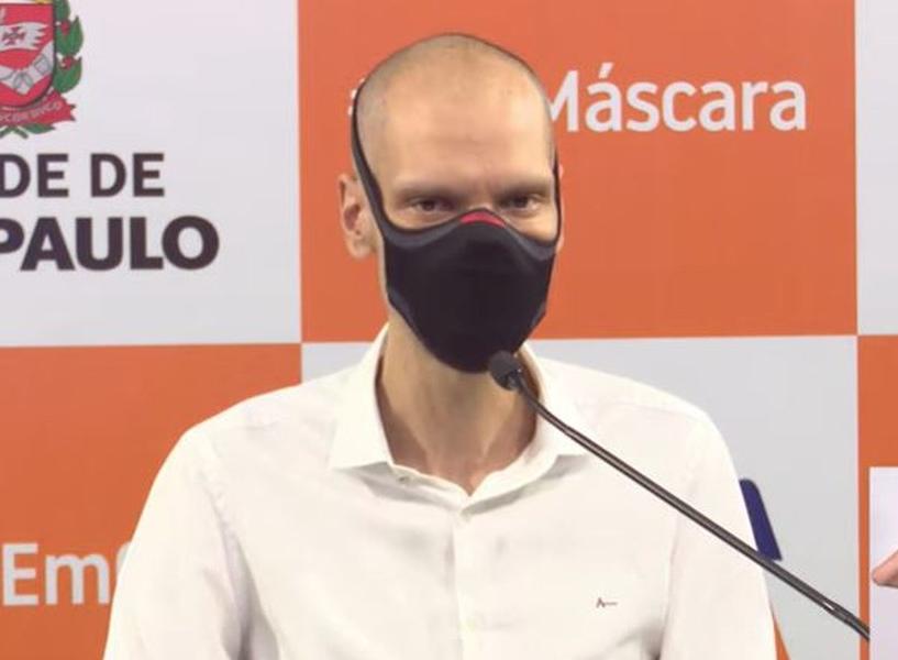 Prefeito Bruno Covas (PSDB) durante coletiva de imprensa em 2021