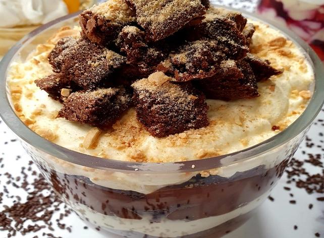 Taça brownie com creme de avelã e leite em pó | Band Receitas
