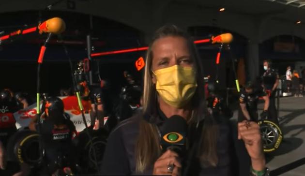 F1 na Band: Mariana Becker mostra Red Bull branca em homenagem à Honda