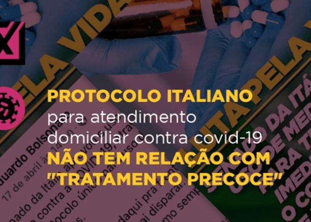 """Postagem no Facebook do deputado federal Eduardo Bolsonaro diz que """"o Senado da Itália aprova uso de medicamentos para tratamento imediato contra a Covid-19, através de protocolo único"""""""