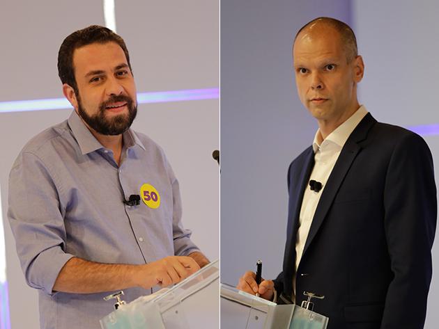 Guilherme Boulos (PSOL) e Bruno Covas (PSDB) no debate da Band