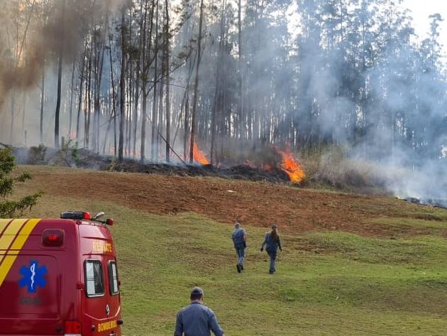Seis equipes estão no local e há muito fogo na região