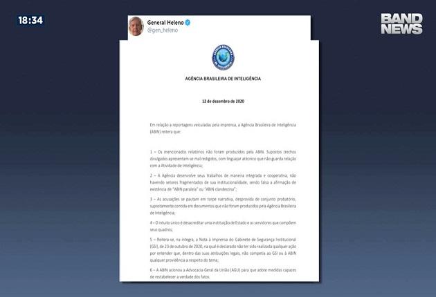 General Augusto Heleno compartilha nota da Abin que diz que agência não produziu relatórios