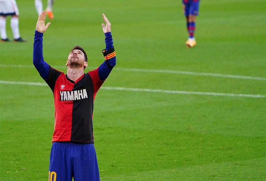Messi marca e homenageia Maradona