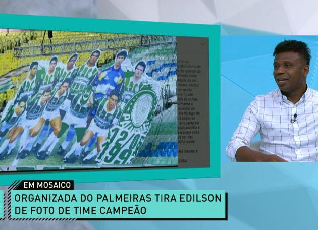 """Edílson lamenta mosaico de torcida: """"Ninguém apaga minha história no Palmeiras"""""""