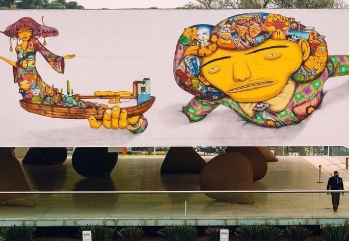 Grafite de Os Gêmeos em Museu Oscar Niemeyer causa polêmica em Curitiba