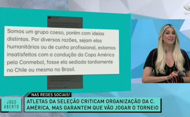 """Renata sobre manifesto da seleção: """"Esperava algo mais contundente"""""""